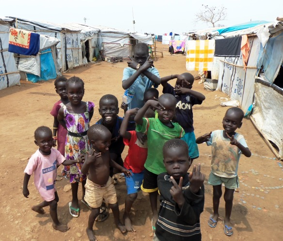 Children in South Sudan, protected from a life blighted by polio, as a result of Bromsgrove's Polio Points